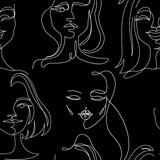 Szwu z kobietą twarze Portret jednej linii sztuki. Wyraz twarzy kobiety. Ręcznie rysowane liniowy kobieta sylwetka tło. Ilustracji wektorowych - 211415140