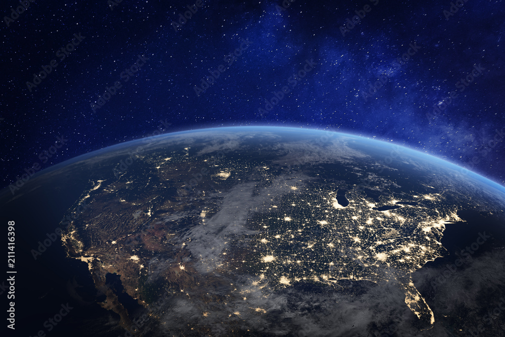 Fototapeta North America at night viewed from space with city lights showing human activity in United States (USA), Canada and Mexico, New York, California, 3d rendering of planet Earth, elements from NASA
