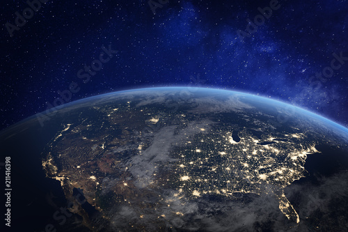 Fotomural North America at night viewed from space with city lights showing human activity