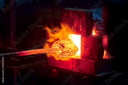 Stampa su Tela Burning  in a blacksmith forge