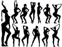 Silhouettes Of Pinup Girls Sitting In Sexy Poses.