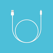 White USB Cable. Vector Illustration In Flat Style