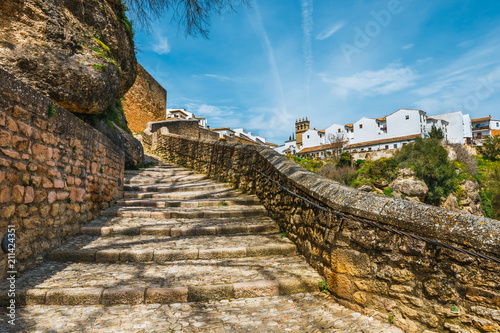 route to the ruins of the Arab baths in town of Ronda, Andalusia, Spain Fotobehang