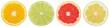 canvas print picture - Zitrusfrüchte Südfrüchte Sammlung Orange Zitrone Früchte in einer Reihe geschnitten Hälfte Freisteller freigestellt isoliert