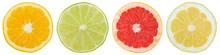 Zitrusfrüchte Südfrüchte Sammlung Orange Zitrone Früchte In Einer Reihe Geschnitten Hälfte Freisteller Freigestellt Isoliert