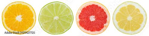 Fotografie, Obraz  Zitrusfrüchte Südfrüchte Sammlung Orange Zitrone Früchte in einer Reihe geschnit