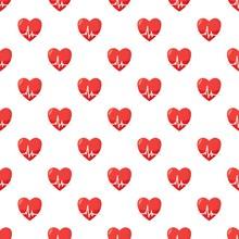 Heartbeat Pattern Seamless Repeat In Cartoon Style Vector Illustration