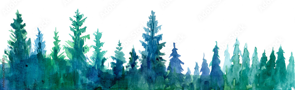 Fototapety, obrazy:  Forest background. Watercolor illustration