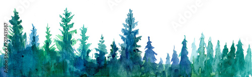 Poster de jardin Aquarelle la Nature Forest background. Watercolor illustration