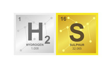 Vector Symbol Of Hydrogen Sulfide Or Sulphuretted On The Background From Connected Molecules