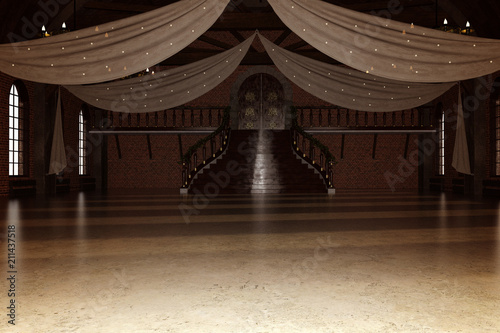 Photo Elegant modern ballroom / Wedding venue, 3d render.