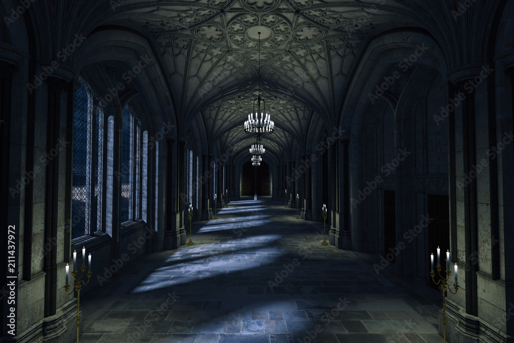 Fototapety, obrazy: Dark Palace Hallway with lit candles and moonlight shining through the windows, 3d render.