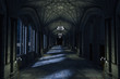 canvas print picture - Dark Palace Hallway with lit candles and moonlight shining through the windows, 3d render.