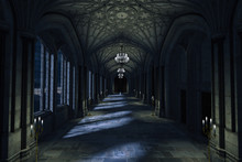 Dark Palace Hallway With Lit C...