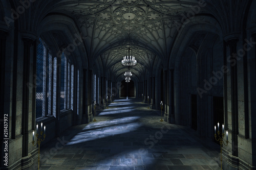 Tela Dark Palace Hallway with lit candles and moonlight shining through the windows, 3d render