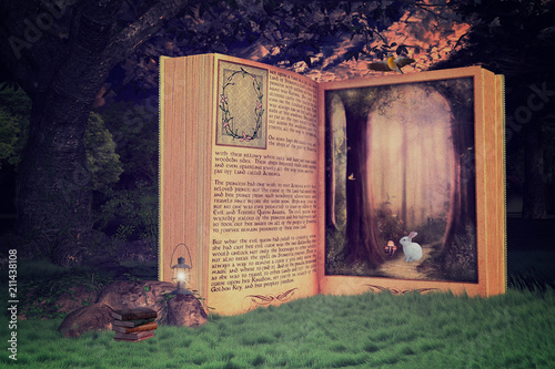 Fototapeta kontynenty   magical-open-storybook-in-the-forest-book-is-leading-into-a-magical-place-3d-render