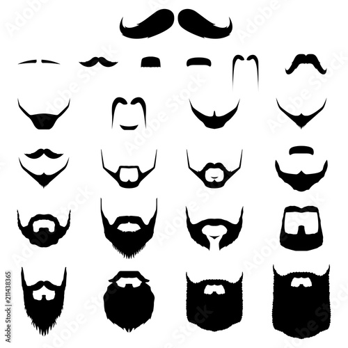 Papel de parede Set of Mustache and Beard Variation