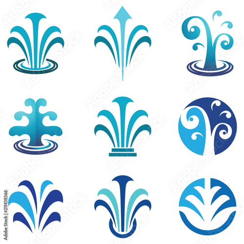 Water Spring Fountain Blue Nature Logo Symbol Wallpaper Mural