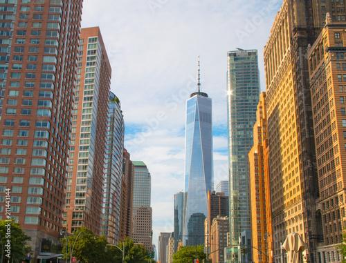 New York City skyscraper in lower Manhattan плакат