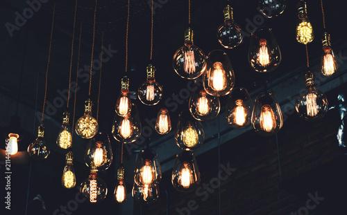 Beautiful vintage luxury light lamp hanging decor glowing in dark Canvas Print