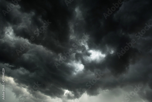 Fototapeta Motion of dark sky and black clouds, Dramatic cumulonimbus cloud with rainy obraz
