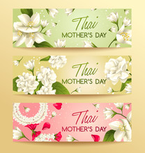 Happy Thai Mother's Day Elements : Card Template : Vector Illustration