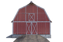 Old Red Wooden Barn Isolated On White, 3d Render.