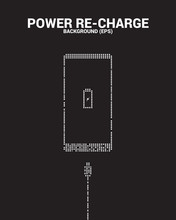 Power Recharge To Mobile Phone  With Charger Plug From Pixel, Concept Of Energy Recharge