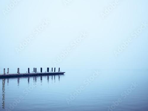 Foto auf AluDibond Licht blau Pier Lake dock water background blue Nature landscape