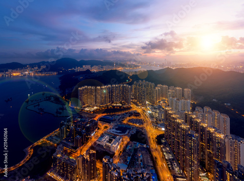 Foto auf Leinwand Hongkong Panorama image of Hong Kong Cityscape from sky view