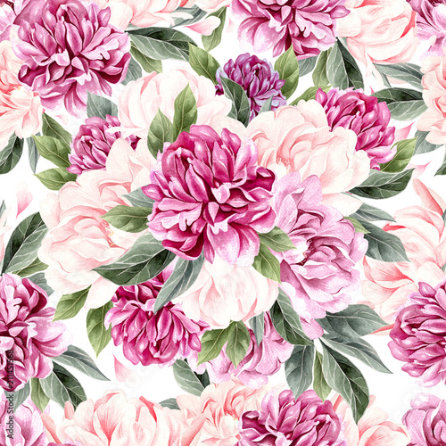Watercolor pattern with peony flowers.