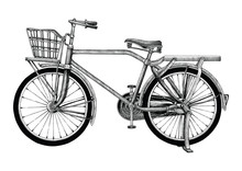 Vintage Bicycle Hand Drawing Clip Art Isolated On White Bakground