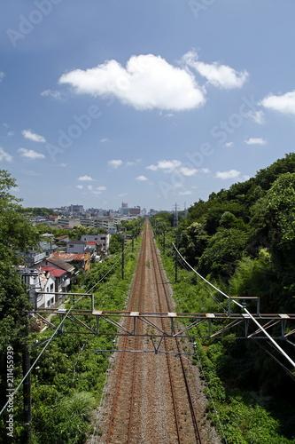 Fotobehang Spoorlijn 一本の線路と青空