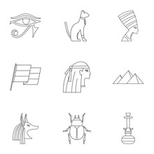 Cairo Travel Icons Set. Outline Set Of 9 Cairo Travel Vector Icons For Web Isolated On White Background
