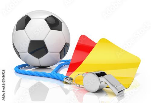 Photo Schiedsrichterpfeife mit gelber und roter Karte und Fussball