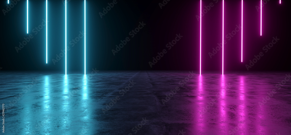 Fototapety, obrazy: Futuristic Sci-Fi Abstract Blue And Purple Neon Light Shapes On Black Background And Reflective Concrete With Empty Space For Text 3D Rendering