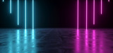 Fototapeta Fototapety przestrzenne i panoramiczne - Futuristic Sci-Fi Abstract Blue And Purple Neon Light Shapes On Black Background And Reflective Concrete With Empty Space For Text 3D Rendering