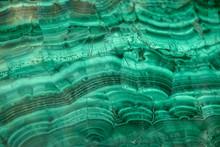 Pattern On Polished Malachite. Green Background