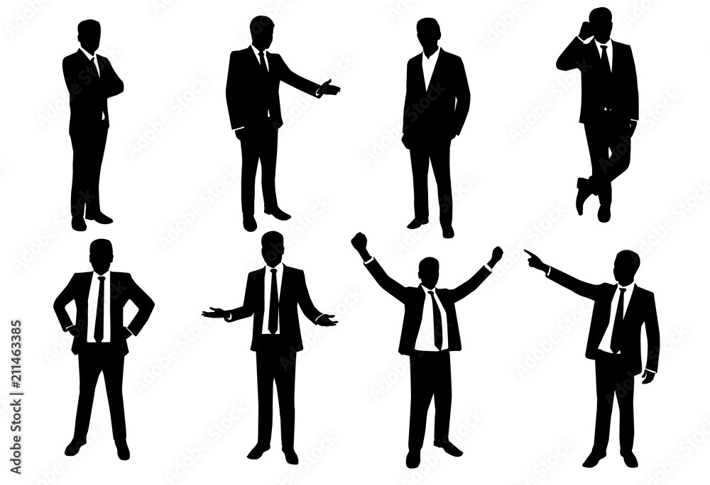 Fototapeta vector of silhouette set of businessman in action