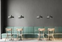 Dark Gray Wall Bar Interior, G...