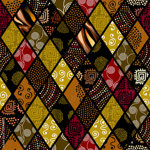 Leinwand Poster Tribal boho seamless pattern in african style on black background