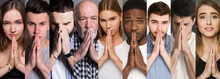 Collage Of Diverse People Pray...
