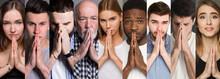 Collage Of Diverse People Praying At Studio Background