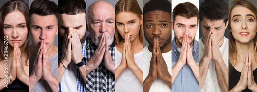 Collage of diverse people praying at studio background