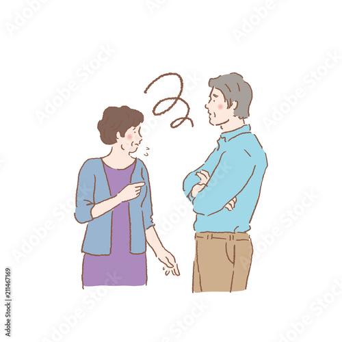 Obraz na plátně  話し合う シニア 夫婦 イラスト