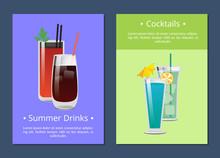 Cocktails Summer Drinks Poster...