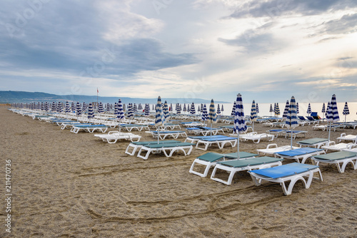 Canvas Prints Inspirational message Sunbeds and umbrellas on the calabrian beach