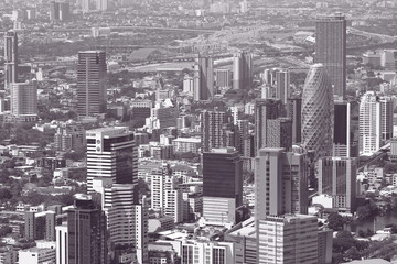 Black and white toned image of skyscrapers of Bangkok city