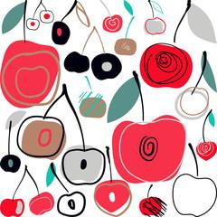 Tapeta Vector illustration pattern with cherries. Summer background in scandinavian style.
