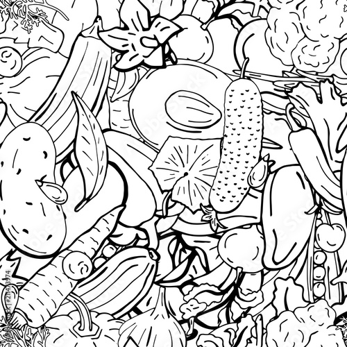 Foto op Aluminium Draw Vector seamless pattern retro drawing of vegetables. Can be used for web page background, fills drawings, wallpapers, surface textures.